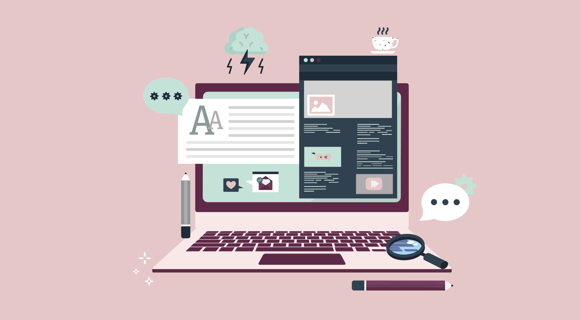 Content Manager: computador com documentos e conteúdos